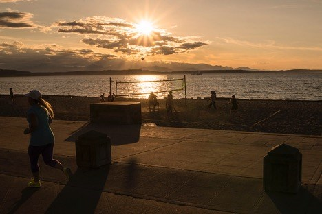 Sunset at Ray's Boathouse in Seattle