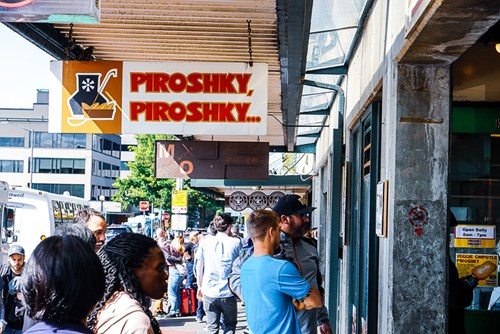 Piroshky Piroshky, Pike Place Market, Russian bakery, small business, Seattle, WA, Street Sign, people, shopping, standing in line, tourism