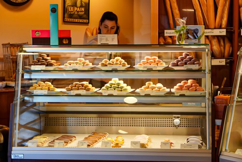 macarons, Bakery, Le Panier, French bakery, display, glass counter, Pike Place Market